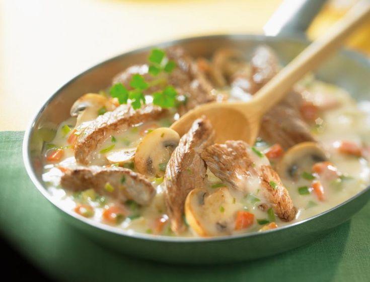 Noix de veau aux champignons et carottes à la crème