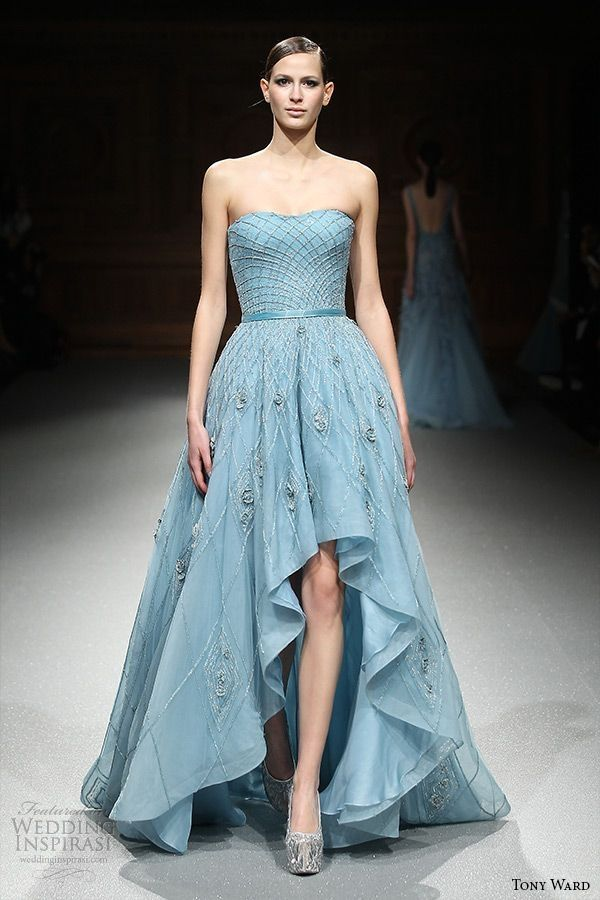 tony ward couture spring summer 2015 runway strapless straight across mullet blue dress