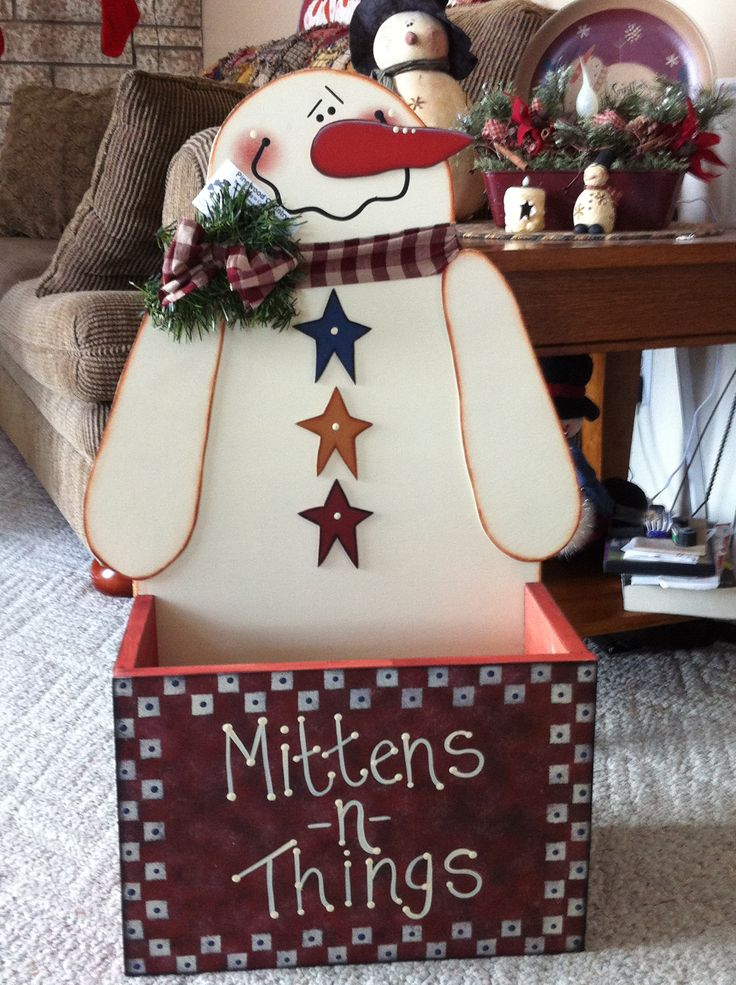 Snowman Mitten Box is a wonderful place to put all those mittens. Please send me a message if you are interested in purchasing one.