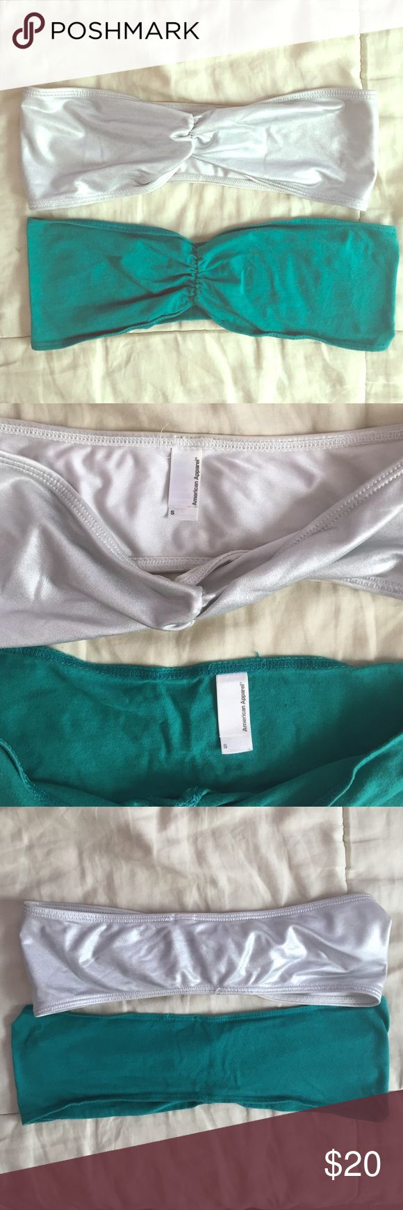 TWO American Apparel Cotton Spandex Tube Bra American Apparel Cotton Spandex Front Tube Bras, Selling 2 for discounted price, One is Silver and one is Green, Both Size S, No signs of wear! American Apparel Intimates & Sleepwear Bandeaus