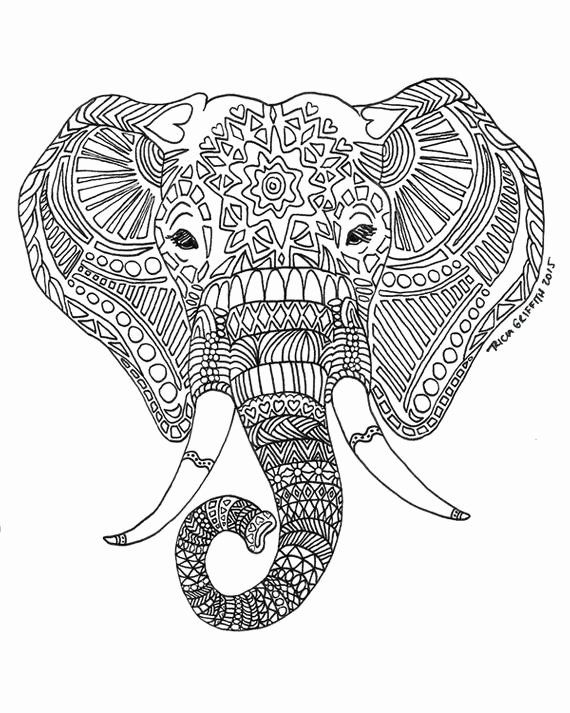 Elephant Coloring Page For Adults Inspirational Items Similar To Zen Critters Sun Elephant Elephant Coloring Page Mandala Coloring Pages Animal Coloring Pages