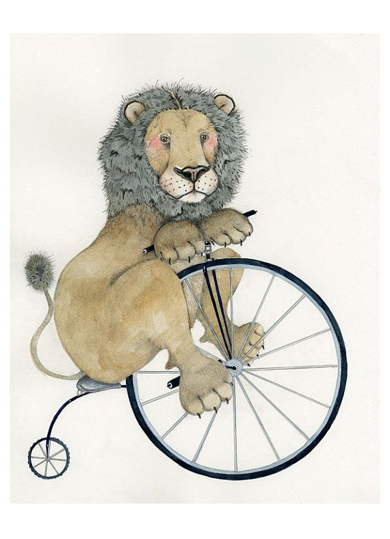 Love the dots for whiskers! tracey long - Print Lion on a Penny Farthing 11.7x16.5