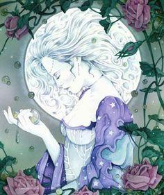 Cuenta la leyenda que en las noches de Luna Llena es cuando esa Deidad derrama sobre las flores la esencia de luz que hay en sus manos, por eso durante esa luna las meigas recogen las flores y elaboran los filtros de amor