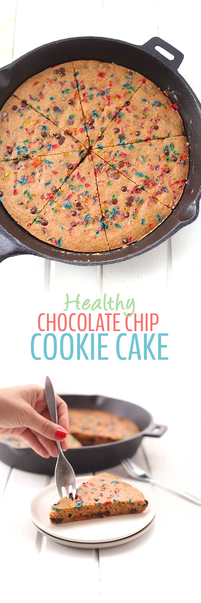 A recipe for Healthy Chocolate Chip Cookie Cake made with a secret ingredient! High in protein, and without any refined sugar, your celebrations will be the perfect combo of decadent and healthy!