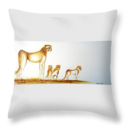 """Lookout Post Throw Pillow 14"""" x 14"""" by Tracey Armstrong"""