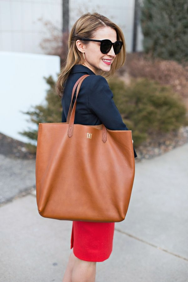 Work Outfit: Red + Navy + the Madewell Transport Tote