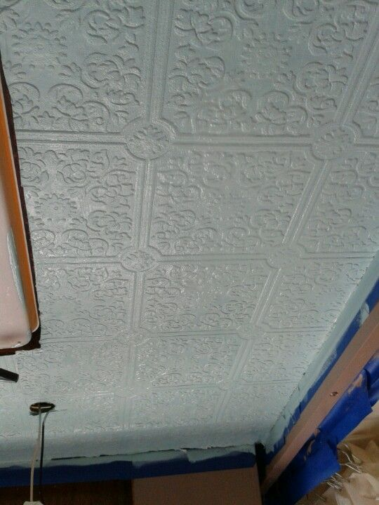 RV Ceiling wallpaper prior to painting. Remodeled