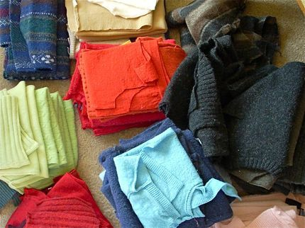 How to Felt Sweaters. A whole lot of felted sweaters, ready for crafting!