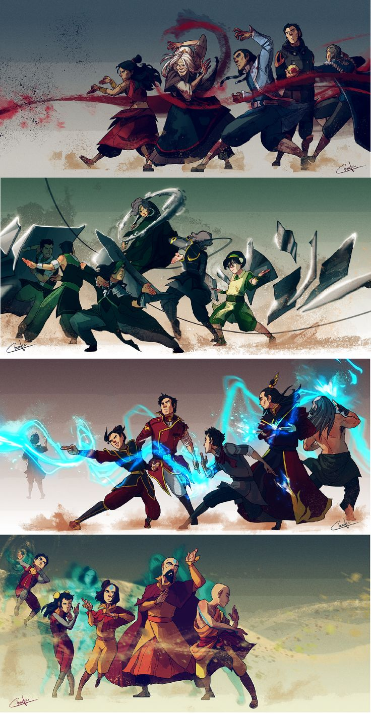 Specialty benders. I adore this artwork.<<< I don't know why but I simply adore that Zuko is standing off to the side, he knew that lightning bending was dangerous and stuck to just redirecting it to save the people he cared about, well that's how I see it