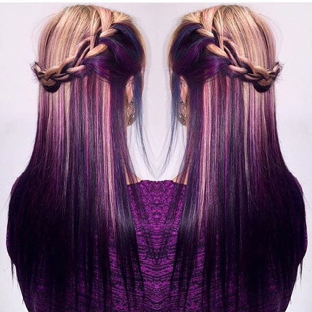 Purple hair color and braid by Rachel Prince Long Purple Hair Hair Painting Ombre hotonbeauty.com