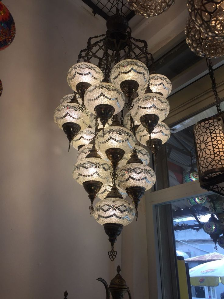 WHITE LARGE MOSAIC CHANDELIER, 19 LAMPS
