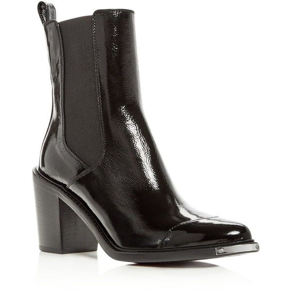Belstaff Women's Aviland Patent Leather Block Heel Booties (£320) ❤ liked on Polyvore featuring shoes, boots, ankle booties, black, patent boots, belstaff boots, black block heel booties, black boots and black booties