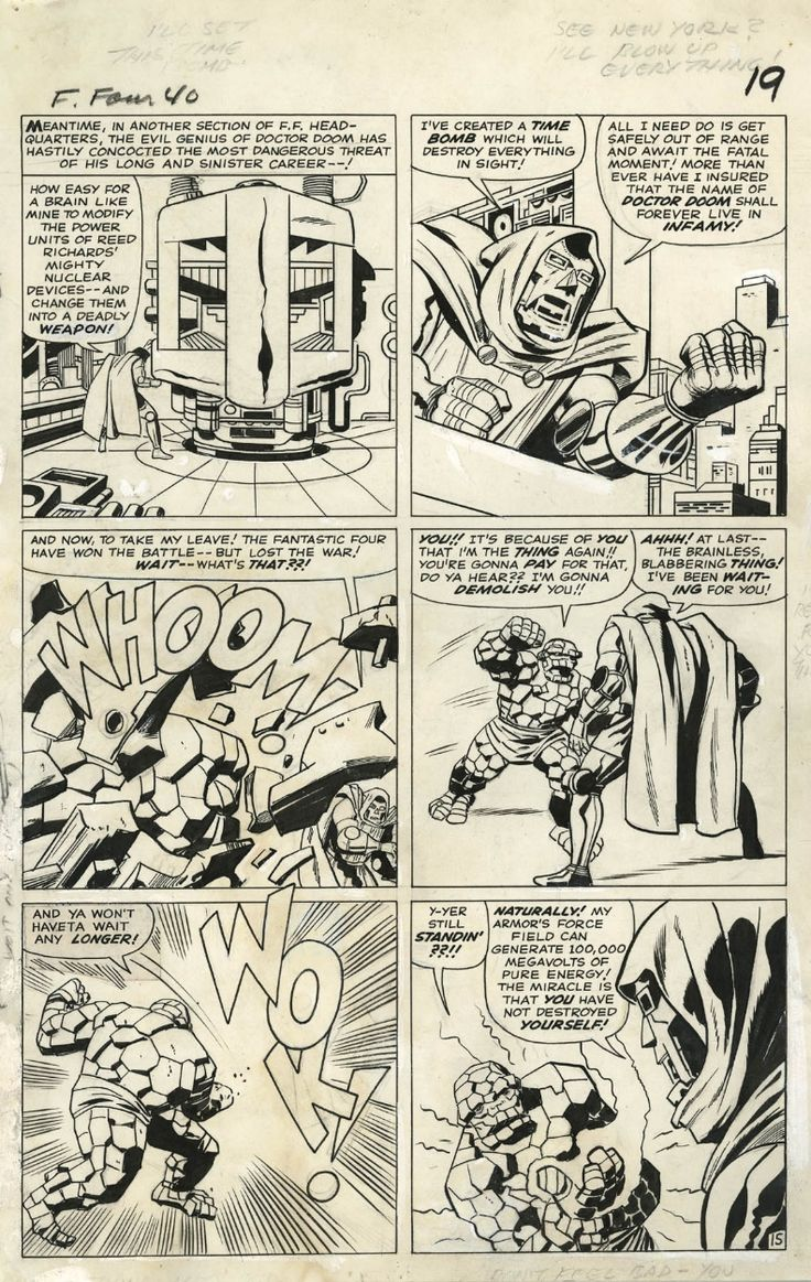 FANTASTIC FOUR #40 PAGE 15 ( 1965, JACK KIRBY ) Classic Thing vs. Dr. Doom Battle!, in www.ComicLink.com…