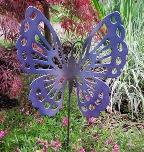 A fabulous metal butterfly for your garden. Etsy listing at https://www.etsy.com/ca/listing/62763772/butterfly-garden-stake-garden-decor