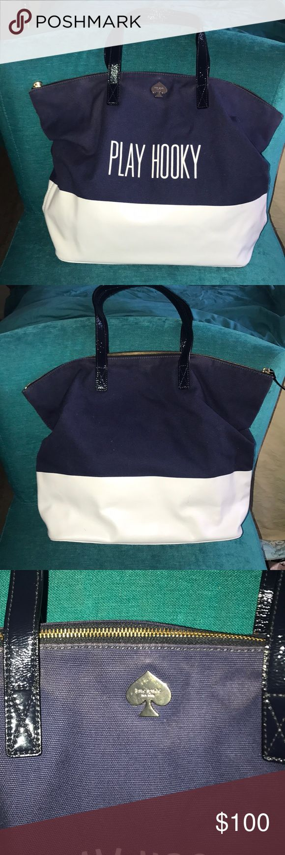 Kate Spade ♠️ Call to action Play Hooky tote Tote has top zip closure, with navy blue patent leather handles. Bottom is white leather, with navy blue cotton at top. Inside lining is yellow and white stripped polyester. Some signs of wear to the bottom corners of bag, refer to pics. May come out with white shoe polish. Bag is in very good condition and great for a day at the beach or use as a casual day of play. Measurements are 19x13x5.25 Kate Spade Bags Totes