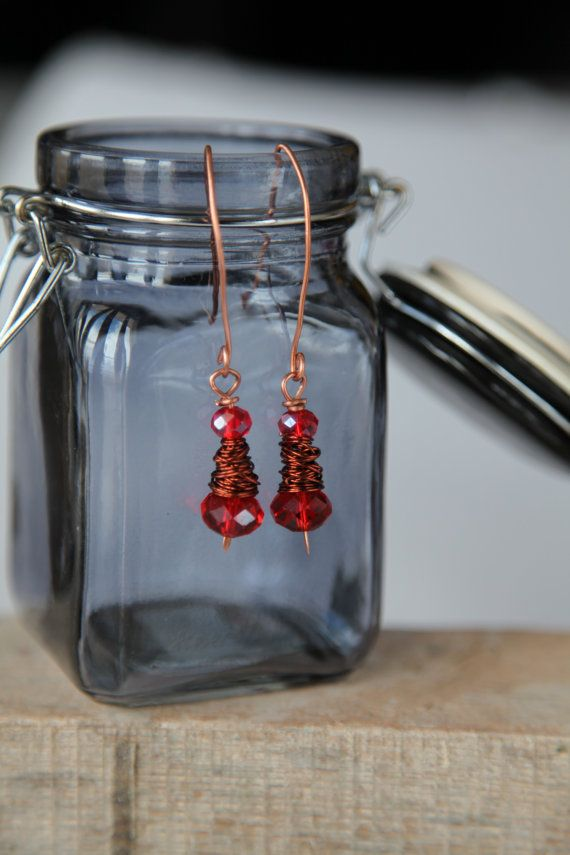 Shiny red crystal glass unique handmade minimal copper by alfiyaV