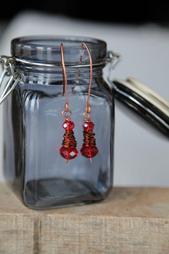 Shiny red crystal glass unique handmade minimal copper by alfiyaV