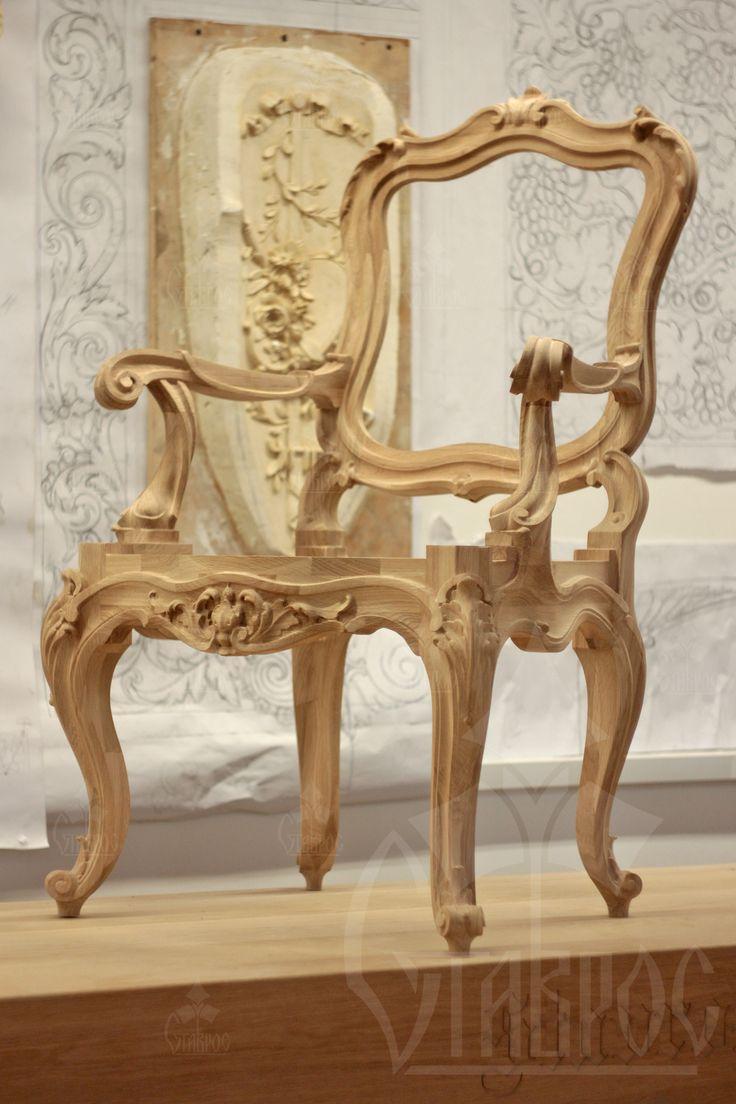 Резной каркас для стула. Массив дерева. Carved frame of the chair. The solid wood.