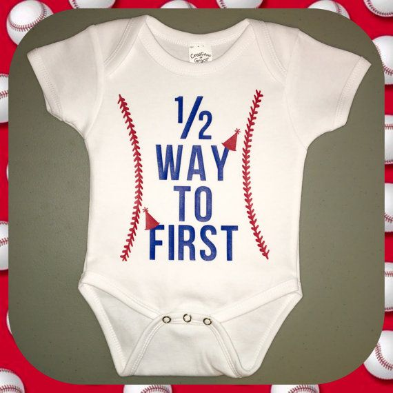 1/2 Way to First Baseball Themed Half Birthday Onesie for 6 month old  by CraftySouthernNurse