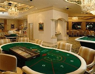 A Baccarat table in a casino. Baccarat is one of the most classic Bond casino games.