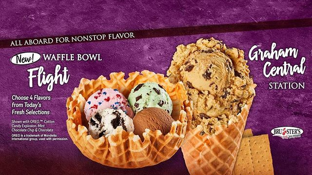 Can T Pick Just One Favorite Bruster S Flavor Now You Dont Have To Introducing Our New Waffle Bowl Ice Cream Flights Pick Waffle Bowl Waffles Mint Chocolate