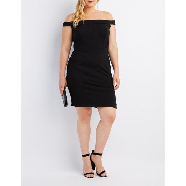 Charlotte Russe Foldover Off-The-Shoulder Bodycon Dress ($25) ❤ liked on Polyvore featuring plus size women's fashion, plus size clothing, plus size dresses, black, off shoulder dress, plus size bodycon dresses, bodycon dress, plus size off shoulder dress and off shoulder bodycon dress