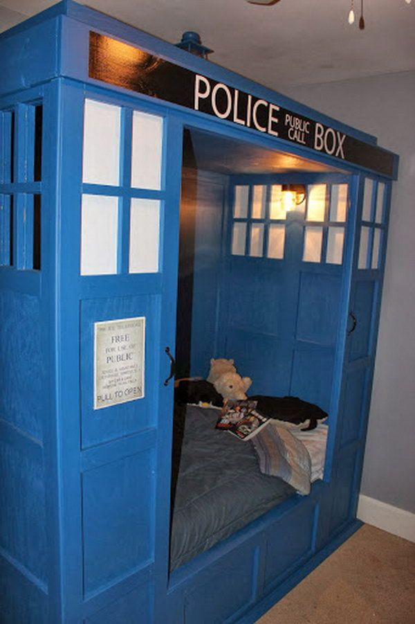 Sleeping on this TARDIS bed, your kids will surely have a fantastic dream. http://hative.com/doctor-who-or-tardis-designs-and-ideas/