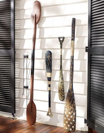 Use oars to accent the front porch of a nautical or lake house.