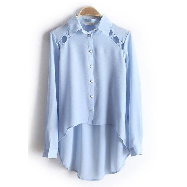 Google Image Result for... (720 MXN) ❤ liked on Polyvore featuring tops, blouses, shirts, blue top, chiffon blouse, blue chiffon top, button blouse and light blue top