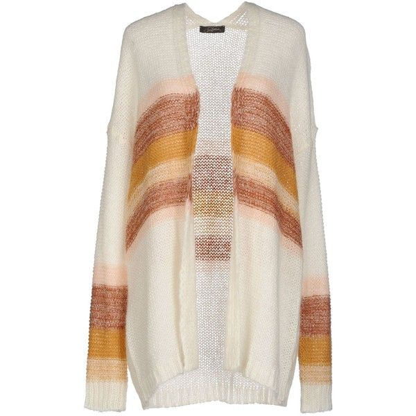 Soallure Cardigan (4.155 RUB) ❤ liked on Polyvore featuring tops, cardigans, ivory, cardigan top, wool cardigan, striped cardigan, striped long sleeve top and stripe cardigan