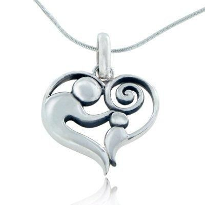 925 Sterling Silver Mom and Child Heart Mother's Day Pendant Necklace 18 inches