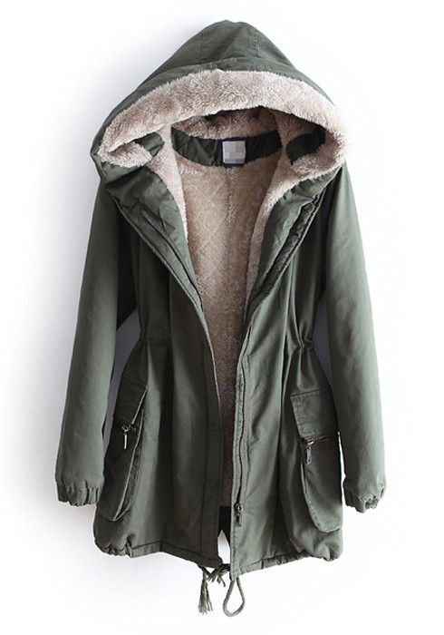 Green Drawstring Belt Stright Thick Cotton Parka Coat