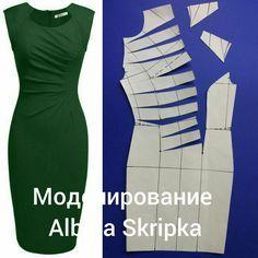 И снова моделирование! Сегодня рассмотрим моделирование вот такого ассиметричные платья. Деталь полочки потребуется вразворот. Наметим линии складок , как мы видим их на фото, разрежем, раздвинем, при этом закроем все вытачки. Такой фасон будет невероятно стройнить и скрадывать животик, если он имеется. Благодаря косым линиям и драпировке. А Вам нравится это платье? Пишите свои комментарии, ставьте лайки, если эта рубрика Вам интересна Ваша #АльбинаСкрипка#АльбинаСкрипка_моделирование…