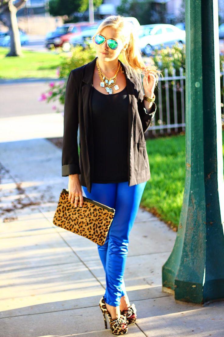 royal blue leggings, black blazer, leopard clutch