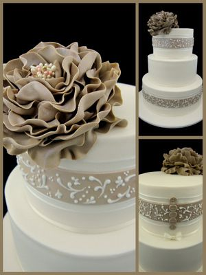 One tier cake with blue instead of brown, and white pearl accents