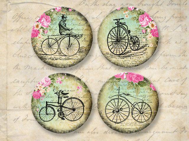 Bicicletas antiguas 2 pulgadas ronda imágenes Collage por Eolene