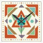 Southwestern Native Tribal Pattern Square Wall Clock  #Clock #Native #Pattern #RusticClock #Southwestern #Square #Tribal #Wall The Rustic Clock