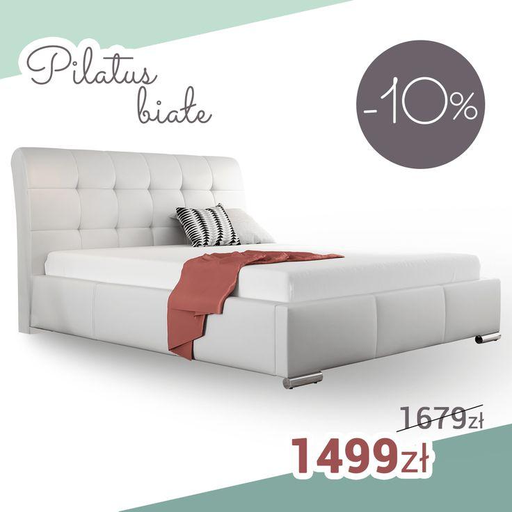 White bed in glamour style! SALE%%%%%% Białe łóżko w stylu glamour. Mega promocja!   End of the promotion. Regular price. Koniec promocji. Cena regularna. #bed #white #glamour #sale #mirjan24