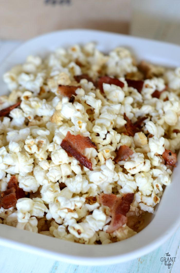 Microwave bacon fat popcorn