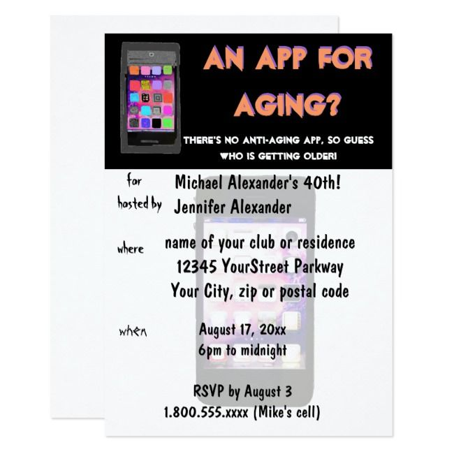 Anti Aging Phone App Birthday Invitation