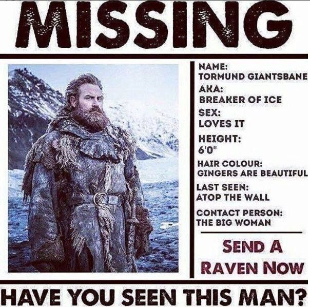 Missing: Tormund, Game of Thrones.
