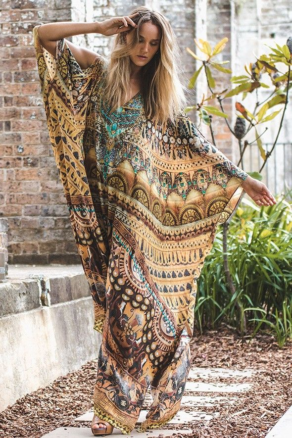 """Fascinated by the sublime power of the beautiful immortals forever etched in the Greek artifacts, I scoured every gallery and museum. I dreamt of Athena, the Goddess of wisdom, and paid homage to all the Gods and Goddesses of ancient Greek mythology who ruled the universe from atop Mount Olympus"" Camilla Franks The Amphora Split Front & Sleeve Kaftan is made from a floaty pure silk is and one of our most covetable pieces. With a relaxed fit and plunging neckline twinkling with crystal…"