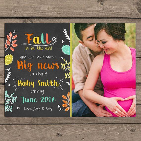 Fall Pregnancy Announcement Chalkboard by Anietillustration