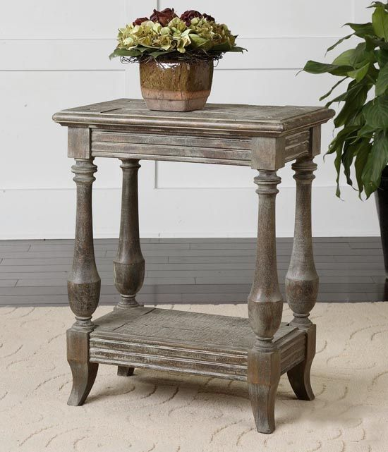 Distressed Reclaimed Wood Accent Table Western Tail And End Tables Solid Fir With Saw