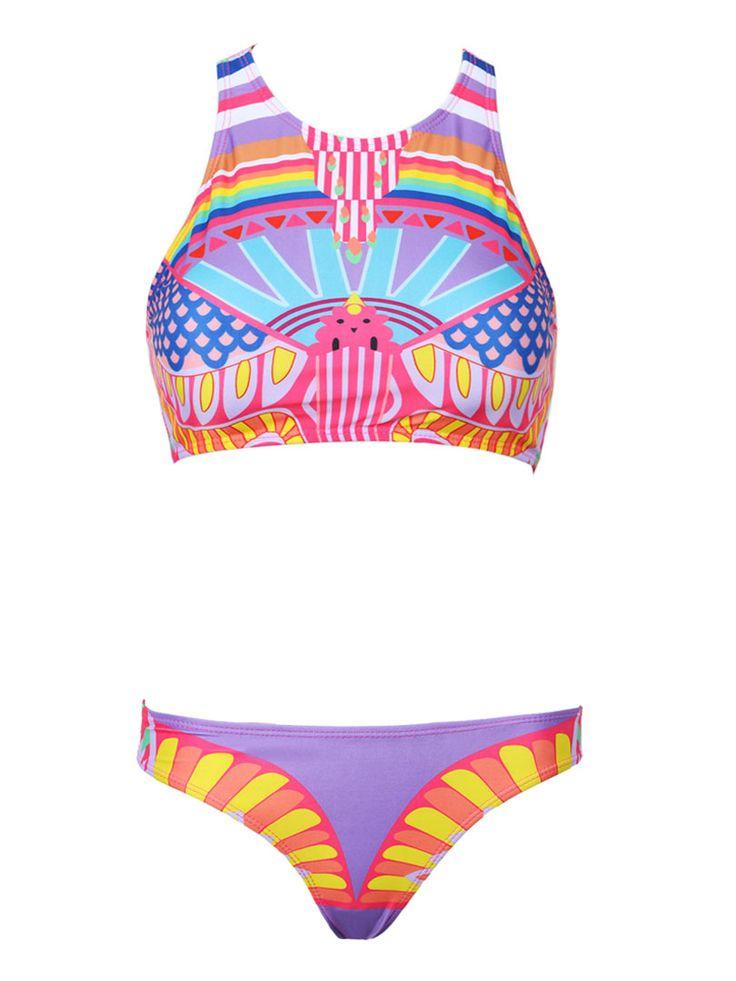 Multicolor Painting Print Bikini Suit | Choies