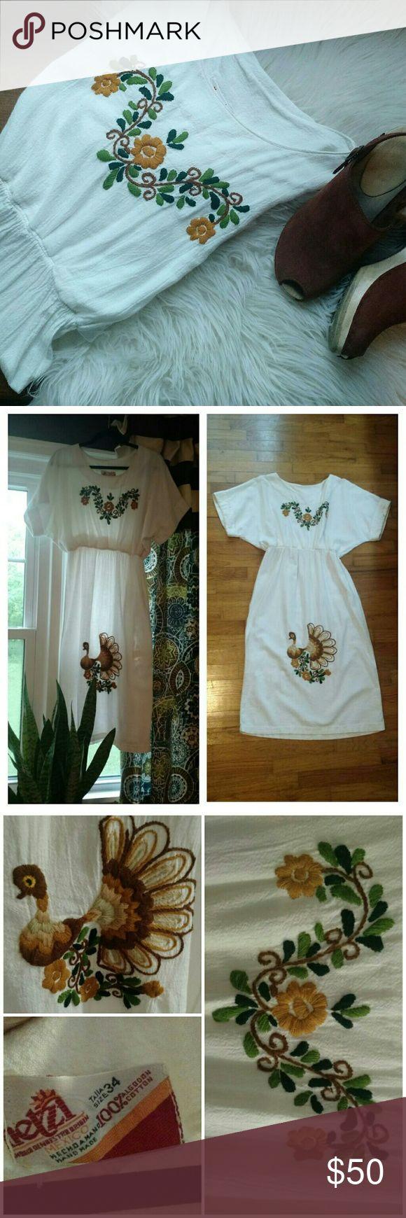Boho embroidered dress So boho, fantastic.  Embroidered cream/white cotton kaftan type midi dress.  Cute bird, floral design.  True vintage.  Made in Mexico. Minimalist, gypsy, festival. Dresses Midi