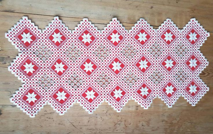 """Beautiful large / 23"""" x 10 1/2"""" / openlace / hardanger / cutwork / embroidered / red / tablerunner/doily from Sweden by Ingsvintage on Etsy"""