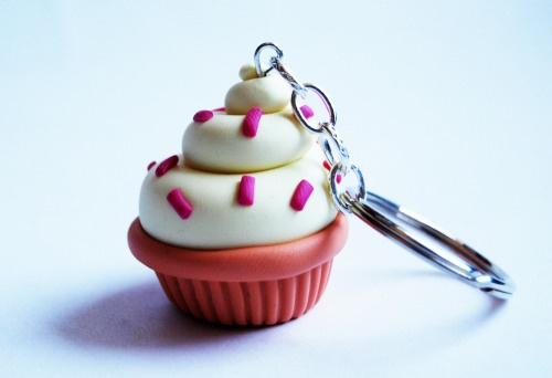 Portachiavi Cupcake in fimo (giallo)