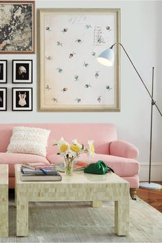 Home design ideas / Home inspirations |  Love to see this rose quartz sofa with the serenity blue floor lamp.