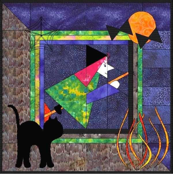 pattern for witches hat free | Applique witch quilt patterns / Embroidery witch quilt patterns